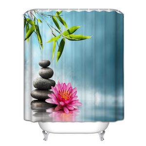 RIDEAU DE DOUCHE Rideau de douche Zen galet bambou fleur rose orchi