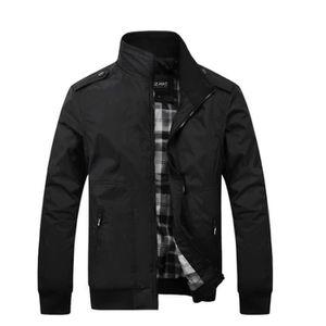BLOUSON Hommes Casual affaires zip veste manteau noir coul