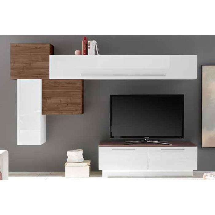 LUDOVICA 10 LAQUE BLANC ET NOYER FONCE ENSEMBLE COMPOSITION MURALE MEUBLE TV TENDANCE