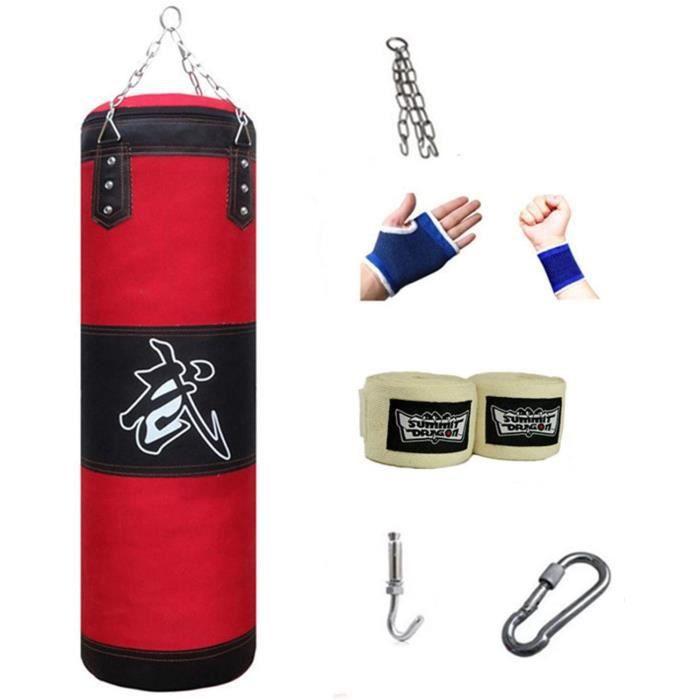 Sac de Frappe Adulte Punching Bag MMA Punching Ball Muay Thai Arts Martiaux Kickboxing Kit Boxe avec Chaine Suspension Punchi[9272]