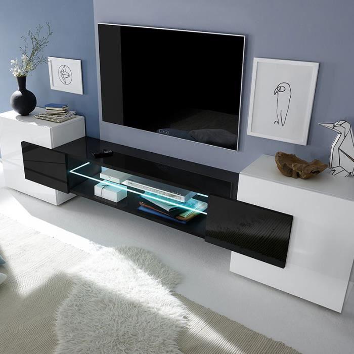 Meuble tv design blanc et noir laqué LUXOR Avec éclairage