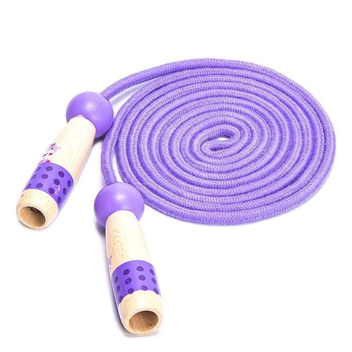 Cordes à Sauter pour Les Enfants, réglables avec Manche en Bois, Longueur 3m de Coton tissé, pour Filles ou garçons(Violet)