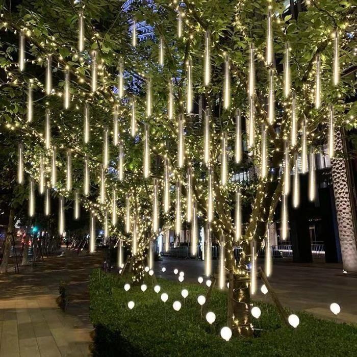 Guirlande lumineuse LED imperméable à effet pluie de météores, 30CM-50CM, pour n White light-30cm 8 tubes-Prise de l'UE -FJFK10190