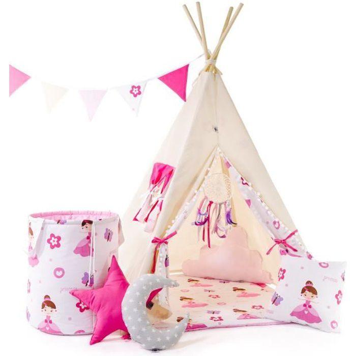 WILLY - Tente de jeu Tipi fille - Hauteur 160 cm - Guirlande + tapis + 4 coussins + corbeille + attrape-rêves INCLUS - Beige