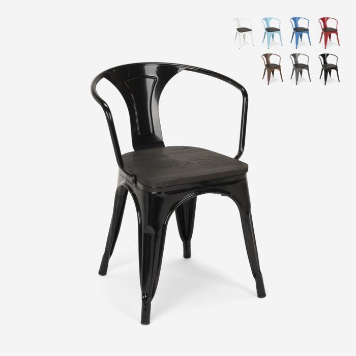 Chaises design industriel en bois et métal de style Tolix Cuisines de bar Steel Wood Arm, Couleur: Noir