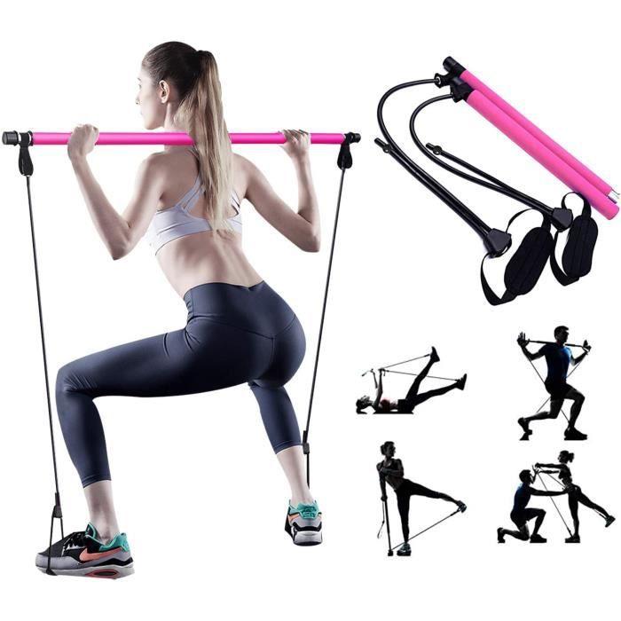Réglable Barre de Pilates pour Elastique Musculation,Hipsline Body Sculpt,Yoga Entraînemen,Pilateuse Kit avec Bande Elastique Fitnes
