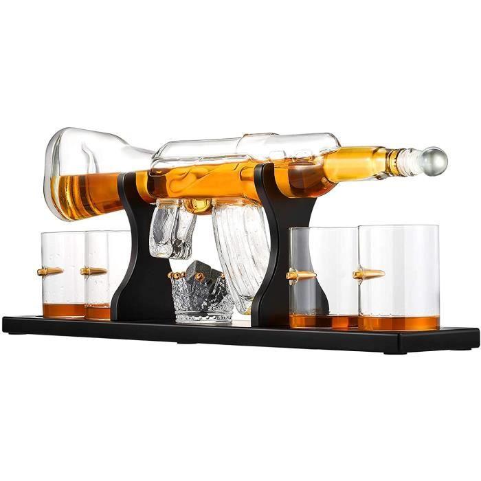 VERRE A VIN Kacsoo Ensemble de carafe agrave whisky Gun Carafe agrave whisky avec 2 verres une coupe de tartare de glace couronn564