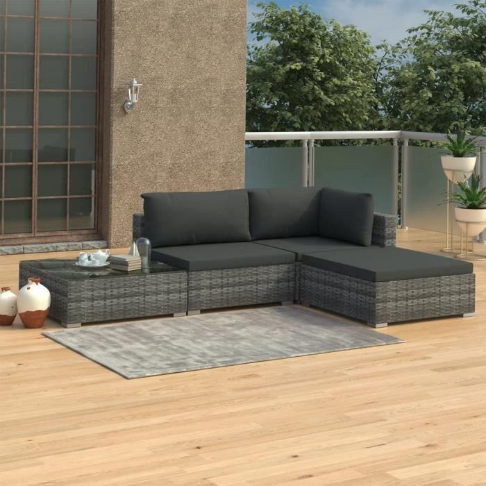 Salon de jardin 4 pcs - Meuble de jardin - Salon Bas De Jardin avec coussins - Résine tressée Gris Parfait #529301