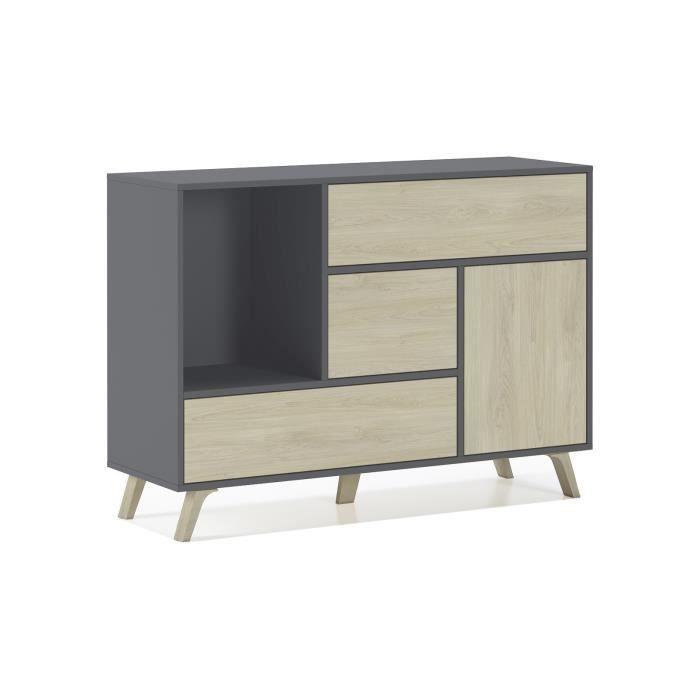 Buffet WIND 1 porte, 3 tiroirs, couleur structure Gris Anthracite, couleur porte et tiroirs Puccini. 120x40x86cm.