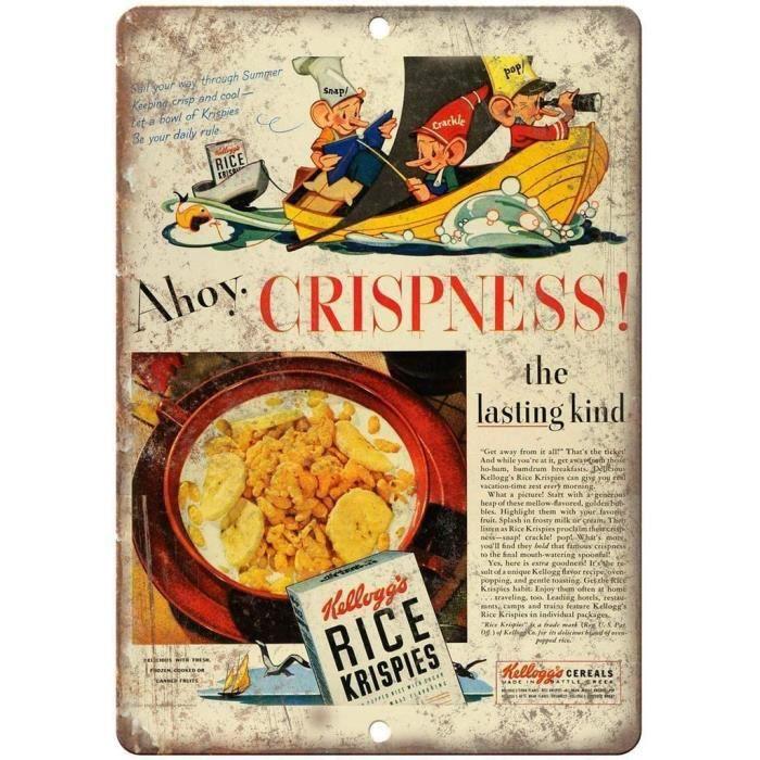 Kellogg's Rice Krispies c&eacuter&eacuteales &eacutetain affiche murale panneau d'avertissement r&eacutetro m&eacutetal pla678