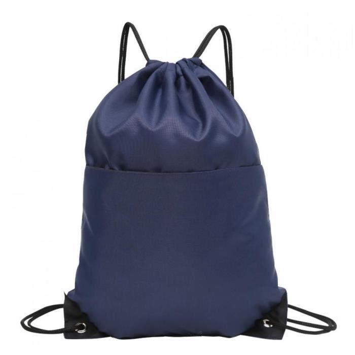 1pc Drawstring Backpack Sac à bandoulière en nylon Sac cordonnet pour Randonnée Yoga Sport (bleu foncé)