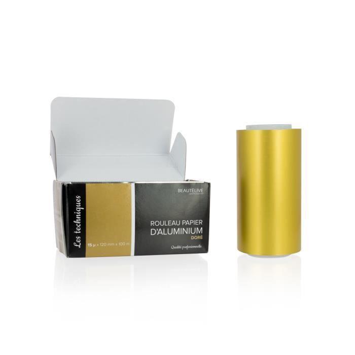 Papier aluminium mèches coloré 15 microns, 12cm x 100m Or , Beautélive, Femme