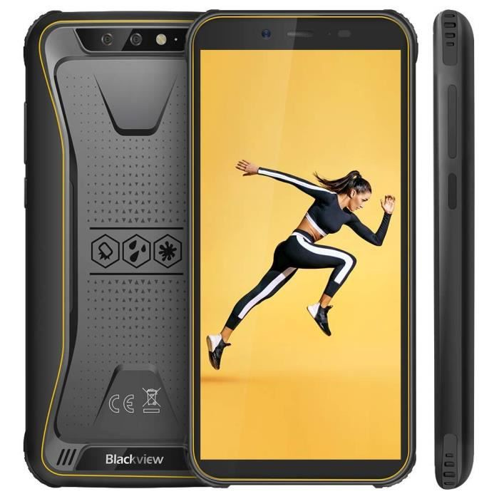Telephone Portable Etanche, Blackview BV5500 Ecran 5.5 Pouces 18:9 HD+ Ecran, 16Go ROM + 2Go RAM, 4400mAh Batteries, Android 8.1 ave