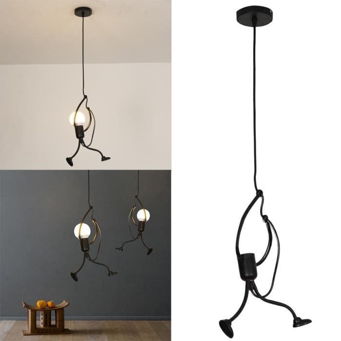 Lustre moderne suspendu charmant fer créatif personnes lampe élégante suspension luminaire hauteur réglable