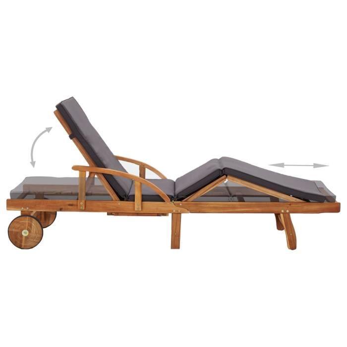 CES Chaise longue/Bains de soleil - avec coussin - Bois d'acacia solide - 200 x 68 x 30- 83 cm - bois clair et gris foncé