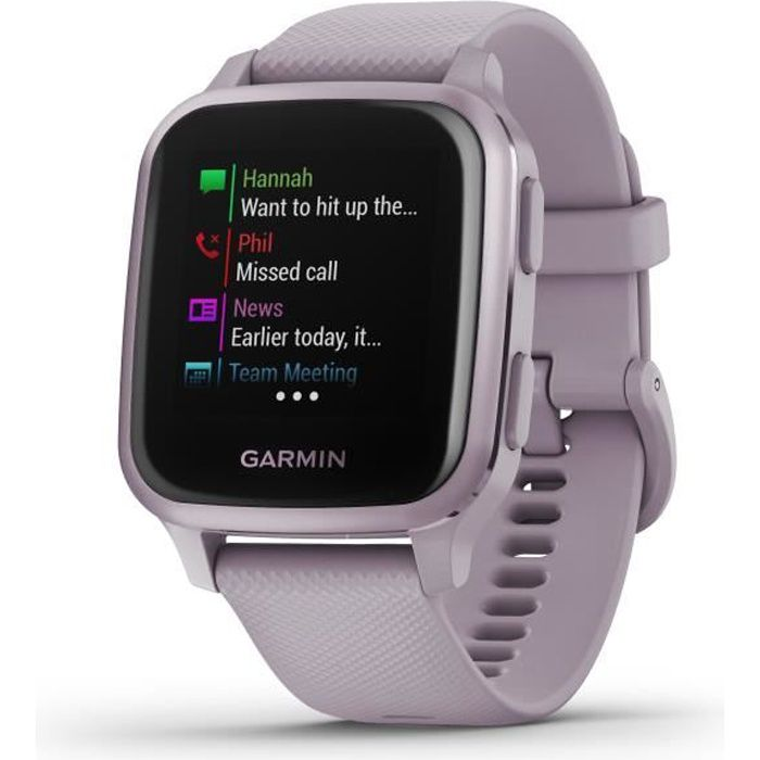 GARMIN Venu Sq - Lavender/Rose Purple - Montre GPS de sport connectée santé et bien-être