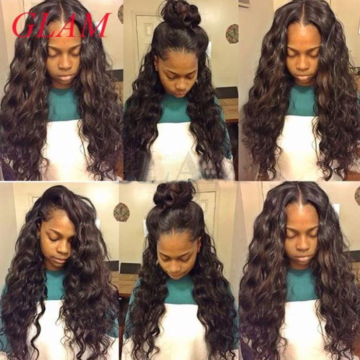 1 piece 24- lace front Wigs perruque Malaisien de cheveux humains naturel vierges water wave perruque
