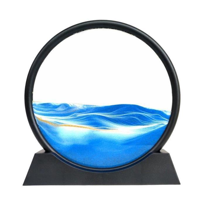 Ronde Glasss Sable Mouvant Art Image 3D Effet Dynamique Profonde Mer Sandscape Sable Qui Coule Art, Cadeau 12 pouces bleu