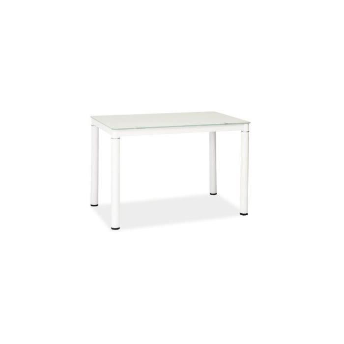 GASANT - Table à manger style moderne - 110x70x75 cm - Plateau en verre - Table cuisine - Blanc