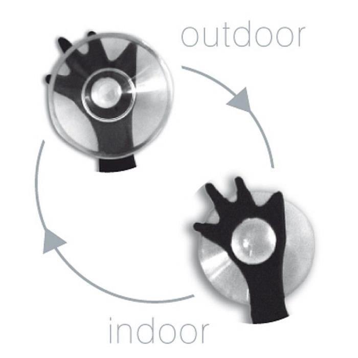 Thermomètre Intérieur Extérieur à Ventouses Lézard noir 13,7 x 6,3 cm - Un thermomètre pour voir la température de chez soi