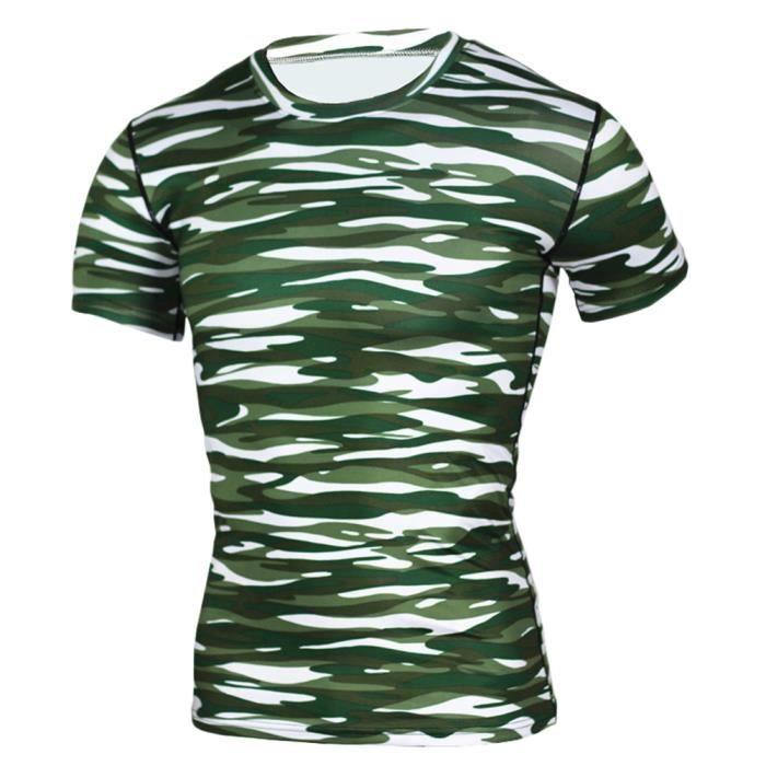 Maillot Compression À Manches Courtes T Shirt Pour Homme Sports Séchage Rapide Baselayer Haut 10 S