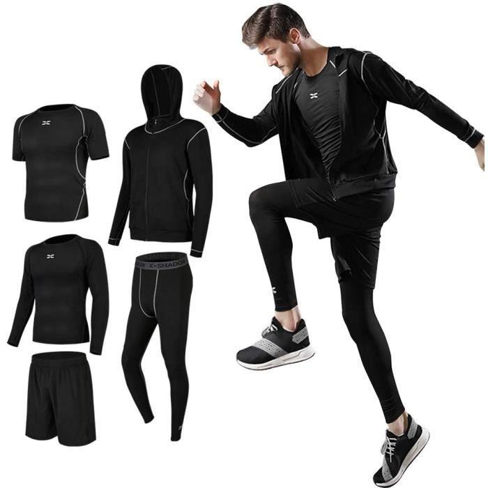 Ensembles De Sport de Suduation de Fitness Vêtements Entraînement Doux Séchage Rapide Respirant Course à Pied pour Homme 5 pcs Noir