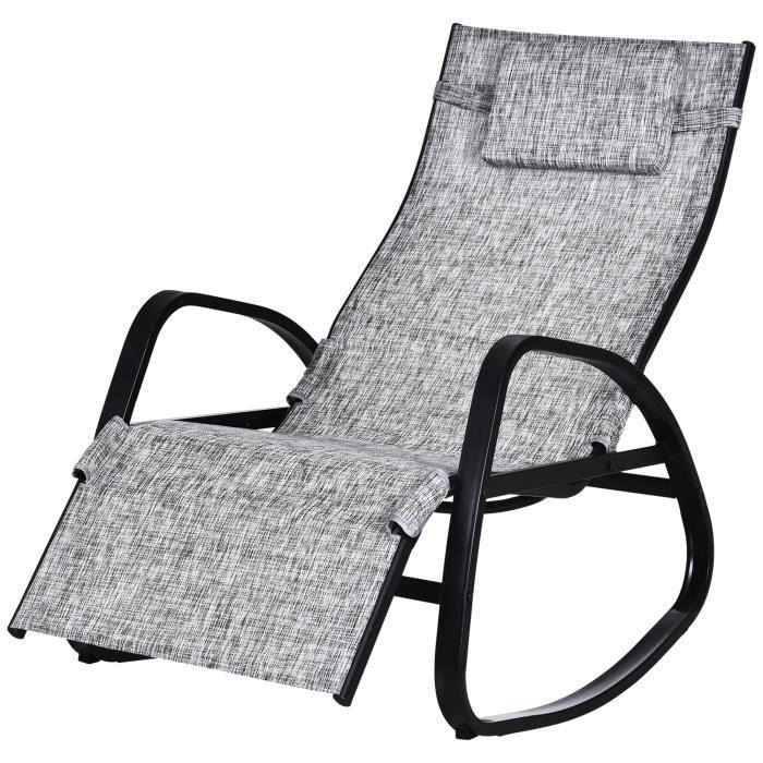 Fauteuil à bascule dossier inclinable réglable chaise longue pliable dim. 69L x 64l x 110H cm métal époxy noir textilène gris chiné