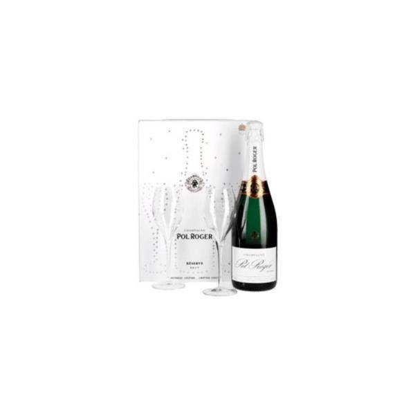 Pol Roger Brut Réserve Etui 2 Flûtes - Champagne AOC