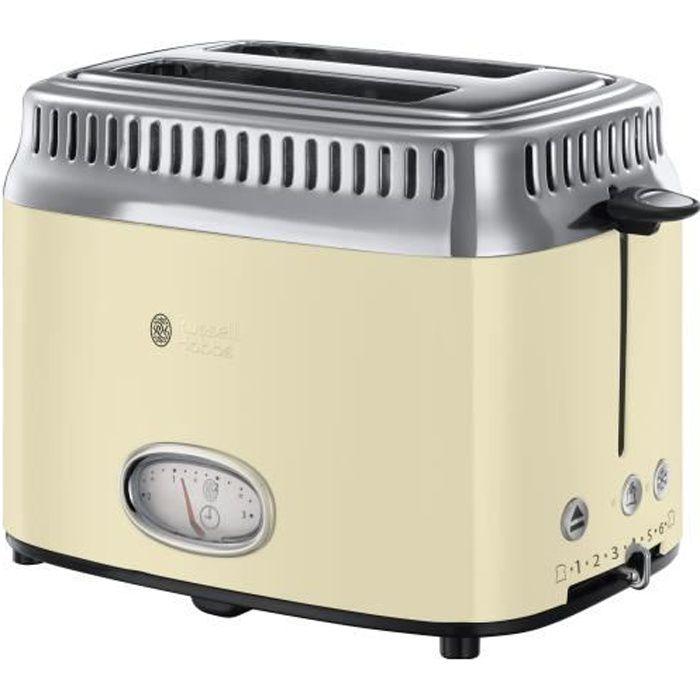 RUSSELL HOBBS 21682-56 Toaster Grille-Pain Rétro Vintage, Température Ajustable, Rapide, Chauffe Viennoiseries Inclus - Crème