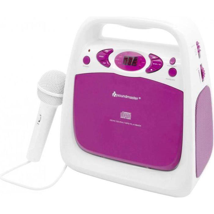 Lecteur CD pour enfants SoundMaster KCD 50 AUX, CD, FM, USB avec fonction karaoké, avec microphone rose