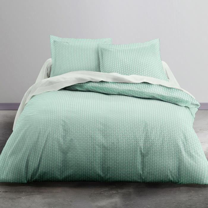 TODAY Parure de lit Scandi - 1 housse de couette 240 x 260 cm + 2 Taies d'Oreiller 63 x 63 cm - 100% Coton 57 Fils - Vert