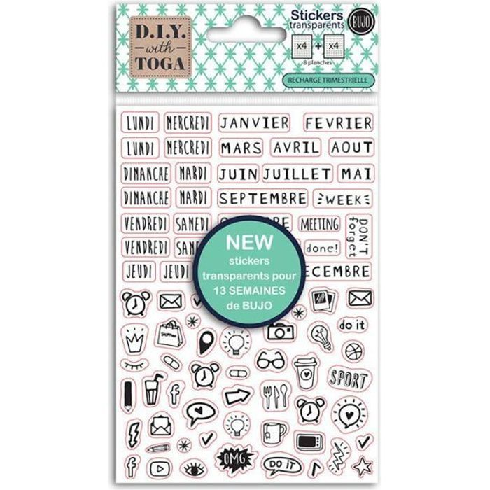 Stickers Bullet Journal noirs transparents