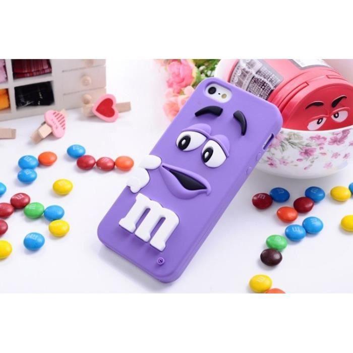 COQUE CASE IPHONE 5C M&M'S CHOCOLAT VIOLET SILICONE SOUPLE (TPU)