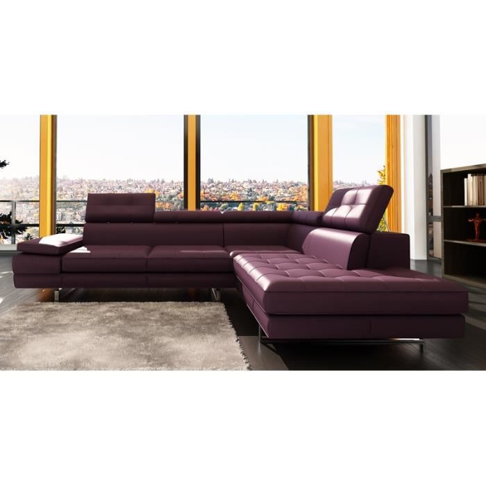 canap d 39 angle capitonn violet t ti res relevable achat. Black Bedroom Furniture Sets. Home Design Ideas