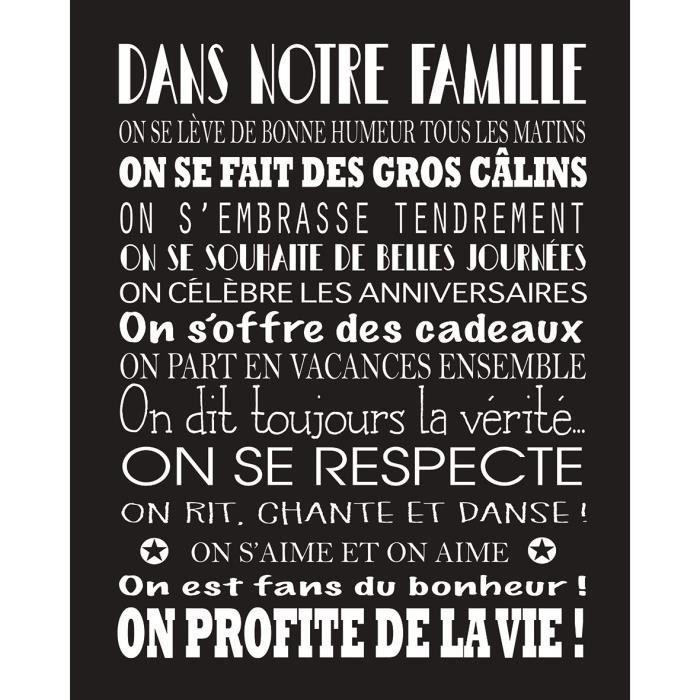 OBJET DÉCORATION MURALE FAMILY Image contrecollée 40x50 cm Les règles de l
