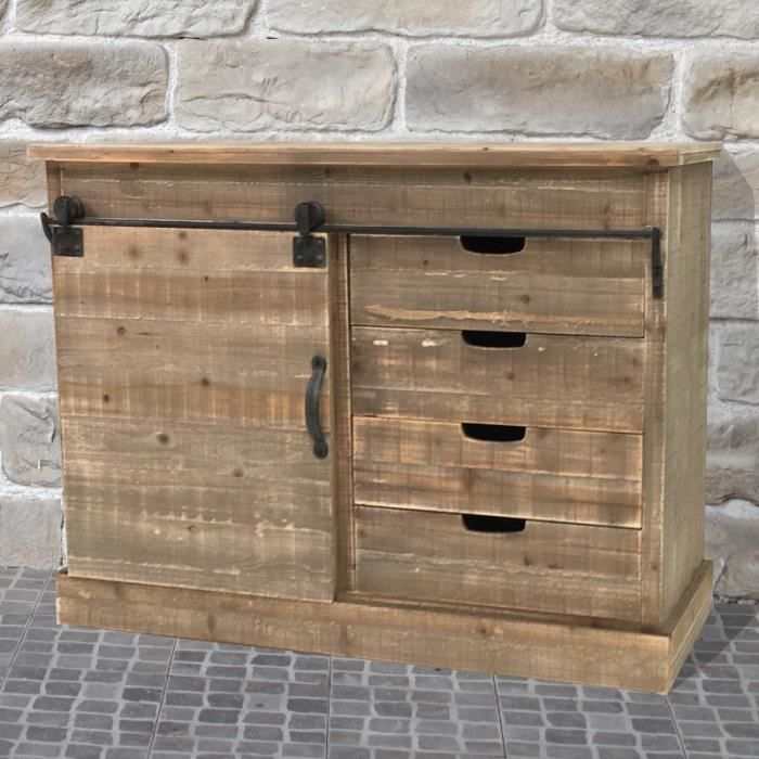 meuble semainier buffet bahut porte coulissante roulette campagne industriel achat vente. Black Bedroom Furniture Sets. Home Design Ideas