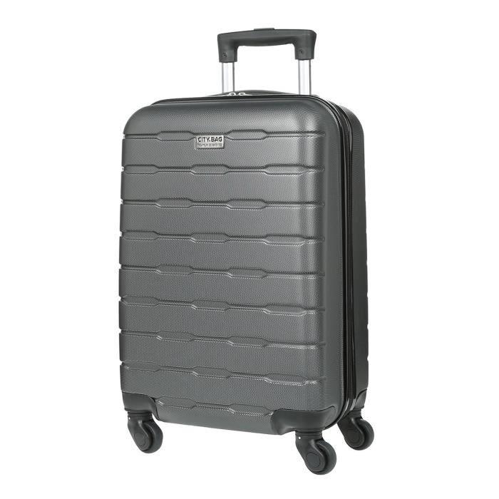 VALISE - BAGAGE CITY BAG Valise Cabine Ultralight ABS 4 Roues Noir