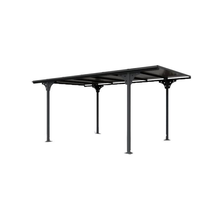 carport en aluminium toit plat 14 70m gris anthracite achat vente carport carport alu 14. Black Bedroom Furniture Sets. Home Design Ideas