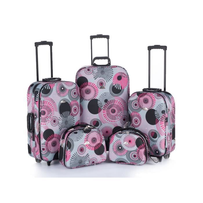 bagage kinston lot de 3 valise 2 vanity rose rose. Black Bedroom Furniture Sets. Home Design Ideas