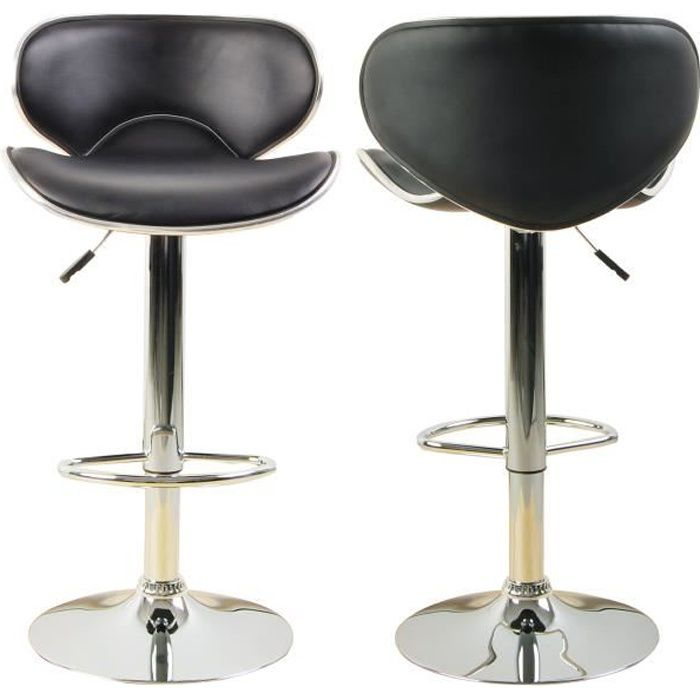 Lot De 2 Tabourets De Bar Ilot Central Cuisine Bistrot Simili Cuir