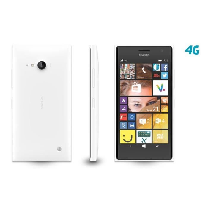 t l phone mobile nokia nokia lumia 735 8go 4g blanc tout op rateur achat t l phone portable. Black Bedroom Furniture Sets. Home Design Ideas