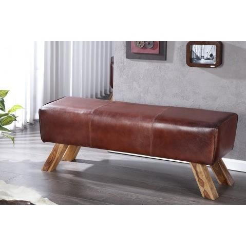 banquette vintage en cuir marron bock 120 cm achat vente banquette cdiscount. Black Bedroom Furniture Sets. Home Design Ideas
