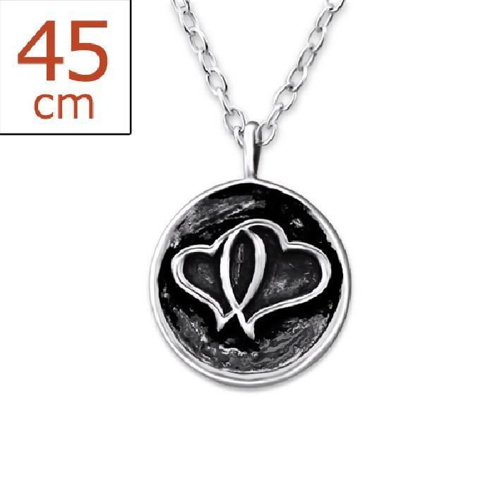 Collier Double Coeur Coin Argent 925