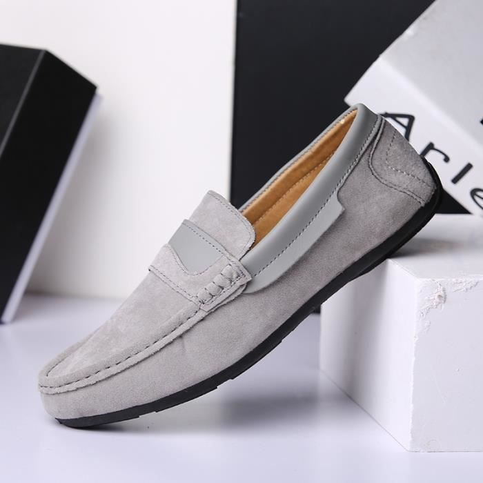 Homme Souliers simple cuir Mocassins Mocassins confortable Slip On Chaussures Flats Homme Driving Doug hommes,gris,9.5