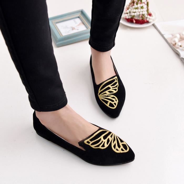 Femmes Flats dames broderie papillon daim chaussures doux Slip-On Casual Shoes @LMH80105551BK qlzNKCS