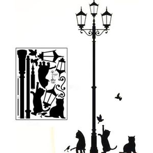 STICKERS Sticker mural lampadaire chats