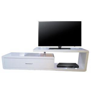 MEUBLE TV Meuble TV Laqué Blanc 1 Tiroir