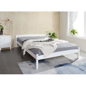 STRUCTURE DE LIT DORAFAIR Cadre de lit adulte en Bois 140 x 190 cm,