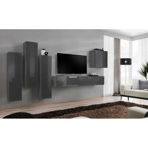 MEUBLE TV Meuble TV mural SWITCH III design, coloris gris br