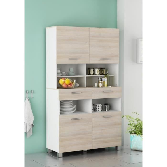 cordoba buffet de cuisine 101 cm blanc et d cor ch ne acacia achat vente buffet de cuisine. Black Bedroom Furniture Sets. Home Design Ideas